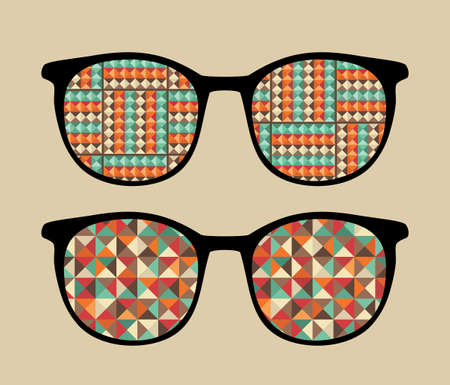 sunglasses reflection: Retro sunglasses with reflection in it  illustration of accessory - eyeglasses isolated
