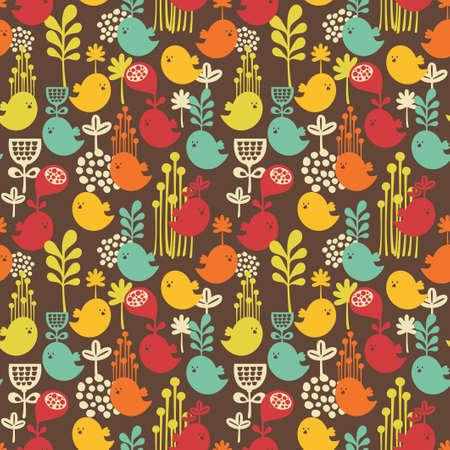 Seamless avec des oiseaux de dessin animé fond de la nature Banque d'images - 21419956