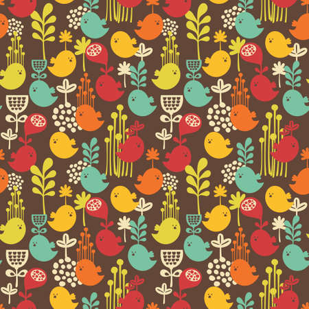 vintage wallpaper: Seamless pattern with cartoon birds background of nature  Illustration