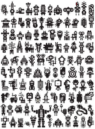 Big set of icons with monsters and robots  Poster - just print and enjoy