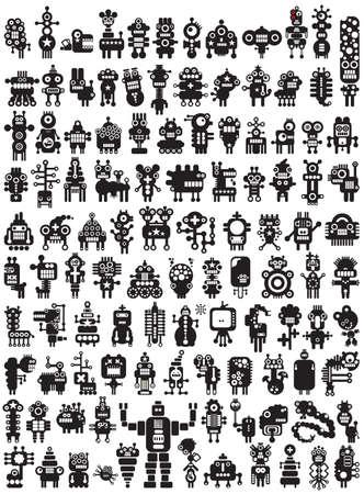 Grote set van iconen met monsters en robots Poster - gewoon af te drukken en te genieten Stock Illustratie