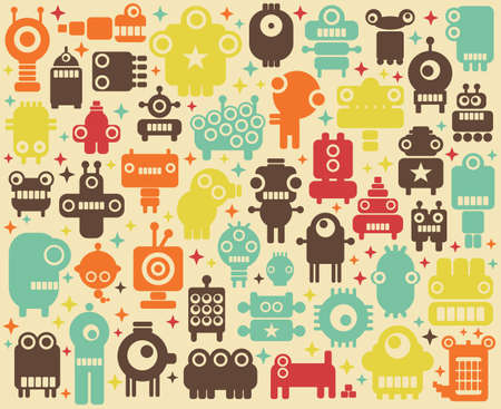 funny robot: Space robots colorful background illustration