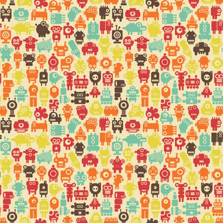Robots seamless pattern in retro style texture with nanobots  Vector