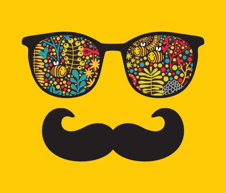 アクセサリー - の流行に敏感な図の反射とレトロなサングラス眼鏡分離されたあなたの t シャツのための最高のプリント  イラスト・ベクター素材