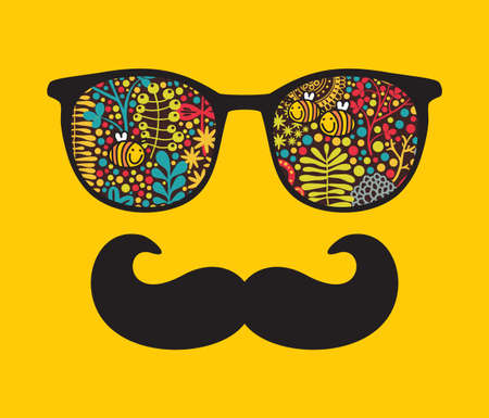 Retro sunglasses with reflection for hipster  illustration of accessory - eyeglasses isolated  Best print for your t-shirt  Stock Illustratie