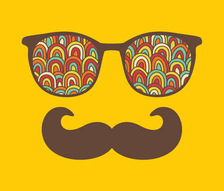 sunglasses reflection: Retro sunglasses with reflection for hipster  illustration of accessory - eyeglasses isolated  Best print for your t-shirt  Illustration