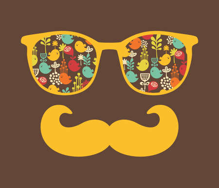 Retro sunglasses with reflection for hipster  illustration of accessory - eyeglasses isolated  Best print for your t-shirt  Vector