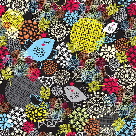 Seamless pattern with cute birds and pretty flowers  background  Ilustração