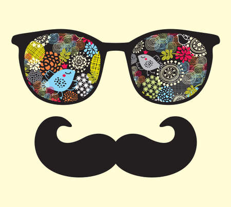 Retro sunglasses with reflection for hipster  illustration of accessory - eyeglasses isolated  Best print for your t-shirt   イラスト・ベクター素材