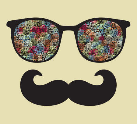 mustaches: Retro sunglasses with reflection for hipster  illustration of accessory - eyeglasses isolated  Best print for your t-shirt  Illustration