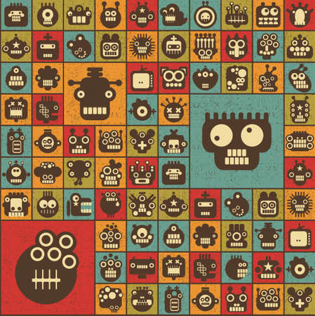 Robot and monsters cell seamless background in retro style texture  Vector