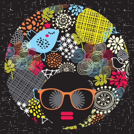 retro disco: Mujer cabeza de negro con patr?n extra?o en su ilustraci?n cabello