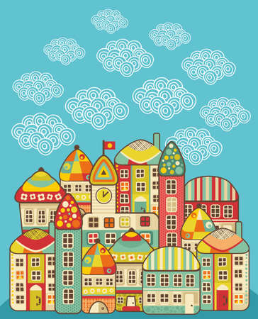 Cute houses  cartoon town and clouds in the sky
