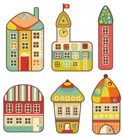 Collection of cute houses  cartoon set  Vector
