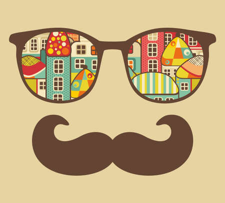 home accessories: Retro sunglasses with reflection for hipster. illustration of accessory - eyeglasses isolated. Best print for your t-shirt.