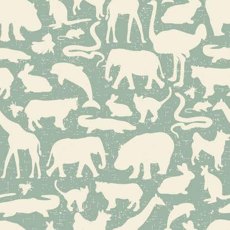 動物のシルエットのシームレスなパターン。