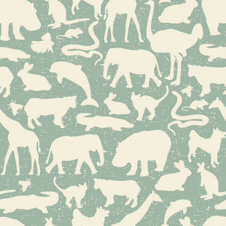 Animals silhouette seamless pattern. Vector