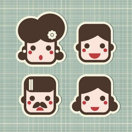 Cartoon family. icônes de personnes visages.