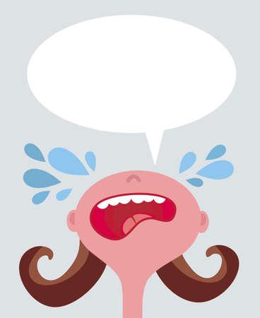 whim: Crying girl. illustration. Illustration