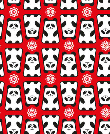 Seamless pattern with panda and flowers.  Vector