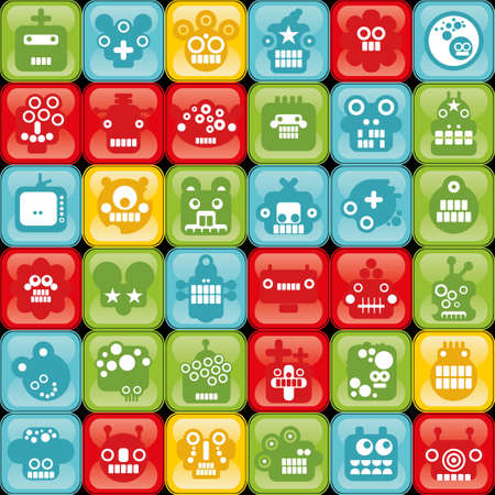 Robot and monsters cell seamless background in retro style.  Vector