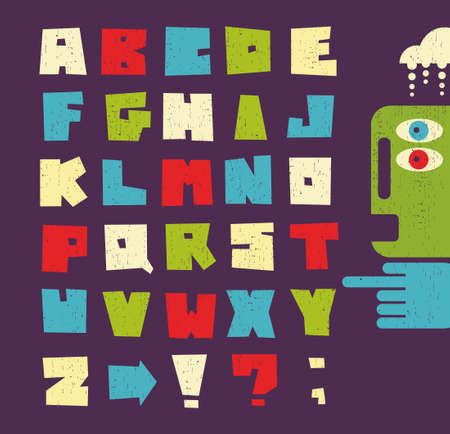 Alphabet letters in retro style. photo