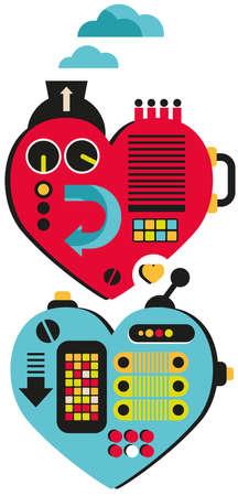 steel mill: Hearts. Vector illustration. Stock Photo