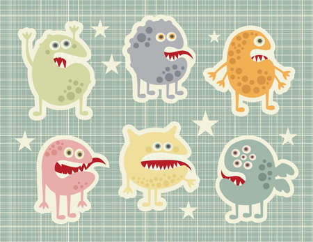 Cute monsters set in retro style. Vector illustration. illustration