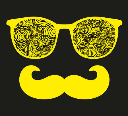 mustaches: Retro sunglasses with reflection for hipster. Vector illustration of accessory - eyeglasses isolated. Best print for your t-shirt. Stock Photo