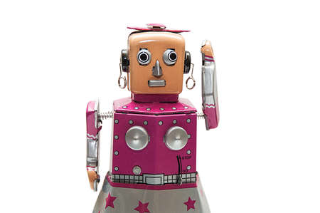 Portrait of pink robot. photo