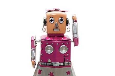 Portrait of pink robot. photo