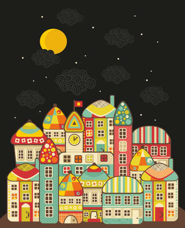 lighthearted: Cute night town. Vector cartoon town and clouds in the sky.