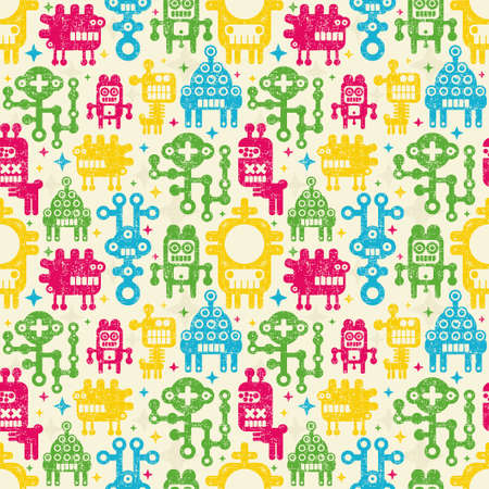Robots seamless background. Vector pattern with monsters. photo
