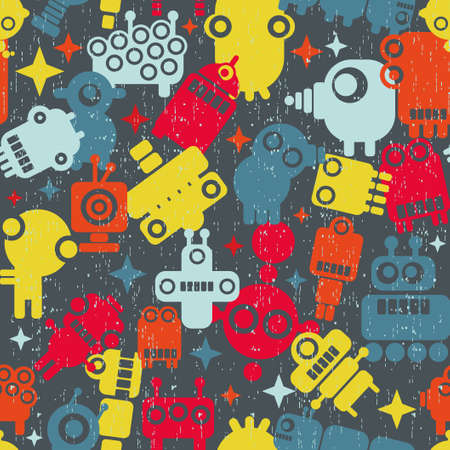 Robots seamless pattern. Vector texture with monsters. photo