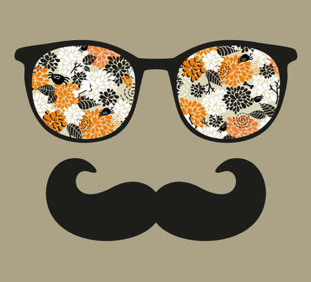 Retro sunglasses with reflection for hipster. photo