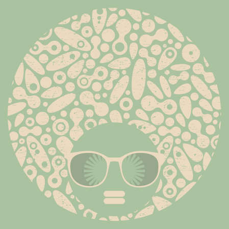 Black head woman with strange pattern on her hair. Vector illustration. illustration