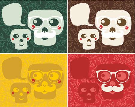 snob: Funny skulls. Vector illustration. Stock Photo