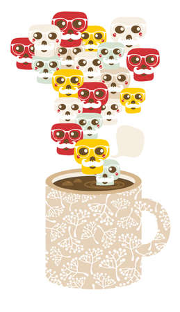 Cup with the smog of skulls. Funny illustration. illustration