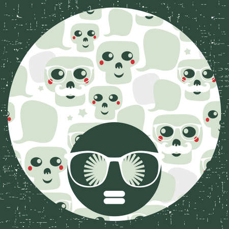 snob: Seamless pattern with funny skulls.