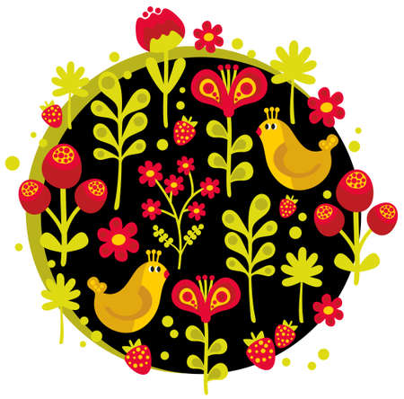 Birds, flowers and other nature. Vector illustration. illustration