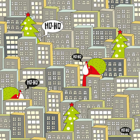 Christmas city seamless pattern. Vector illustration with Santa. illustration