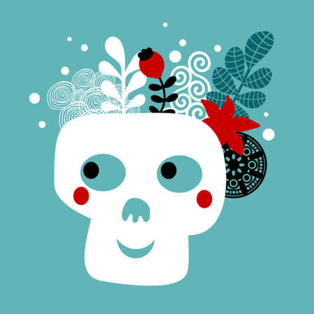 Skull with flowers. Vector illustration. illustration