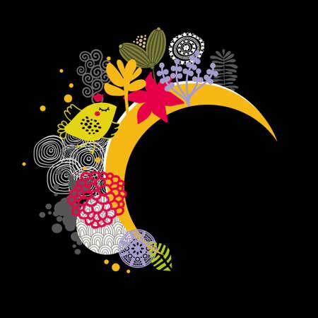 buonanotte: Buona notte banner. Illustrazione vettoriale con uccelli e fiori. Archivio Fotografico