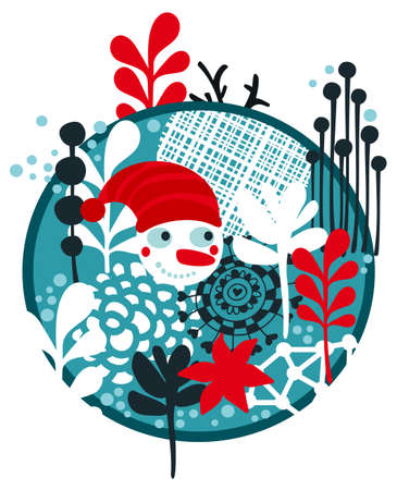 Snowman in the frozen forest. Cool winter print in vector. photo