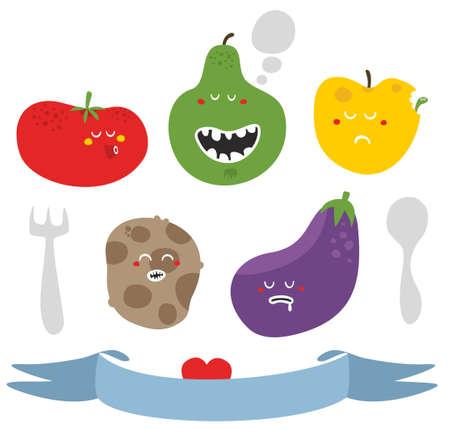 Crazy fruits and vegetables. Vector illustration. illustration