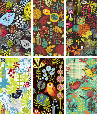Set of six cards with birds and flowers. Vector illustration. illustration