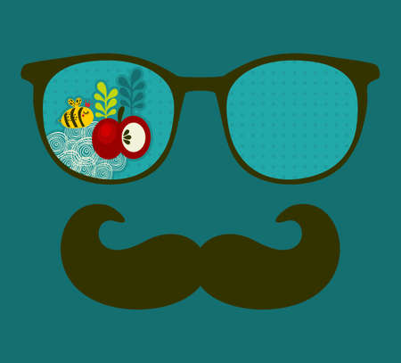 Retro sunglasses with reflection for hipster. Vector illustration of accessory - eyeglasses isolated. Best print for your t-shirt. illustration