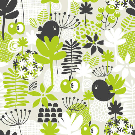 Seamless pattern with green grass and dark birds. Vector background. photo
