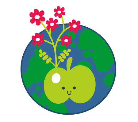 granny smith apple: Apple and the Earth icon. Vector illustration.