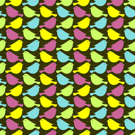 Colorful birds seamless patterns. Vector illustration. illustration